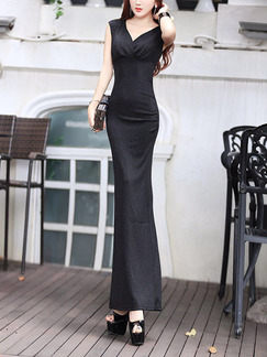 Black Bodycon Maxi V Neck Dress for Ball Cocktail
