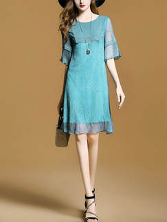 Blue Green Above Knee Linking Chiffon Loose Plus Size Dress for Casual Office Evening Party