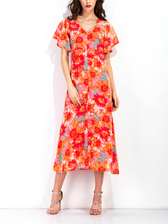 Orange Colorful Shift Maxi Plus Size V Neck Floral Dress for Casual Office Evening