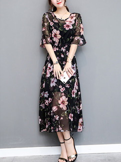Black and Pink Two Piece Cute Fit & Flare Midi Plus Size Floral Dress for Casual Party Evening Office