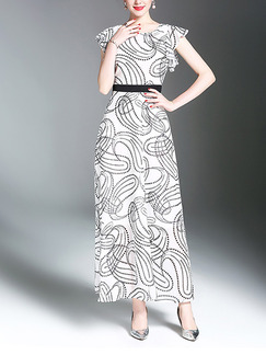 White and Black Maxi Plus Size Dress for Cocktail Party Evening