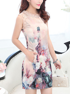 Pink Colorful Cute Sheath Above Knee Plus Size Floral Dress for Cocktail Party Evening Nightclub