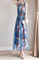 Blue Colorful Maxi Plus Size Dress for Casual Beach