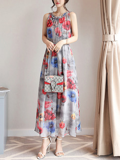 Red Colorful Maxi Plus Size Floral Dress for Casual Beach