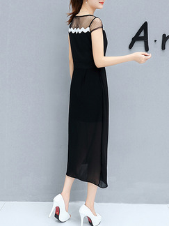 Black Shift Midi Plus Size Dress for Casual Office Party Evening