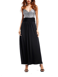 Black and Silver Maxi Plus Size Slip V Neck Dress for Cocktail Ball Party Prom