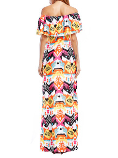 Colorful Off Shoulder Shift Maxi Plus Size Dress for Casual Beach