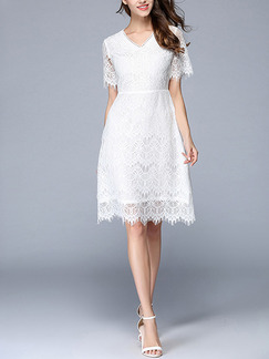 White Sheath Knee Length Plus Size Lace V Neck Dress for Casual Office Evening