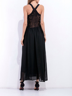 Black Maxi Plus Size V Neck Slip Dress for Cocktail Ball Prom