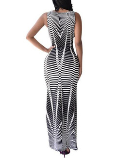 Black and White Bodycon Maxi Plus Size Dress for Cocktail Ball Prom