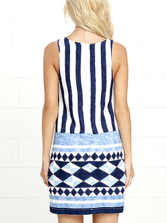 Blue and White Bodycon Above Knee Plus Size Dress for Casual Party
