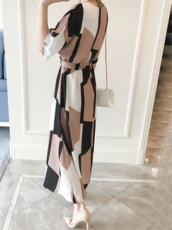 Black Brown and White Maxi Plus Size Dress for Casual Office Evening