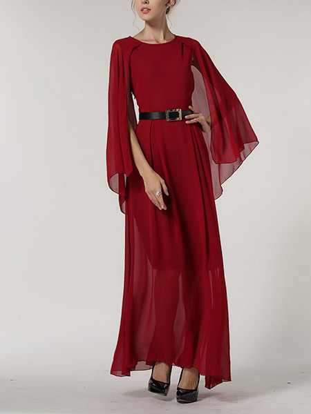 Red Maxi Plus Size Dress for Cocktail Ball Prom