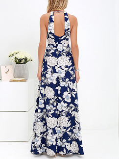 Blue and White Maxi Plus Size Floral Halter Dress for Casual Beach