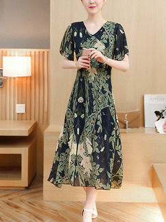 Green and Blue Shift Midi Plus Size V Neck Floral Dress for Casual Office Evening Party