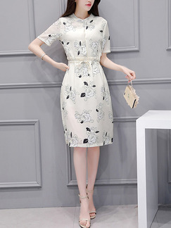 White Sheath Knee Length Plus Size Floral Dress for Casual Office Evening