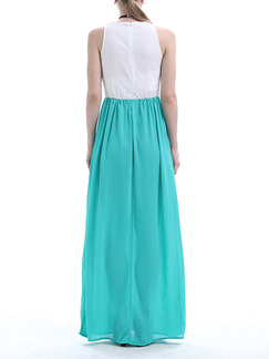 White and Blue Green Maxi Plus Size Dress for Cocktail Prom Ball