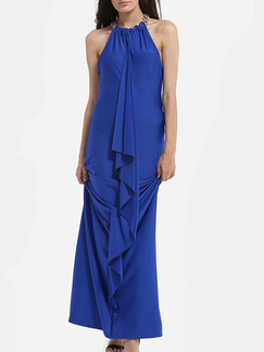 Blue Maxi Halter Plus Size Dress for Cocktail Ball Prom