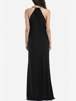 Black Maxi Halter Plus Size Dress for Cocktail Ball Prom