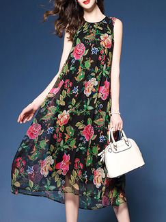 Colorful Shift Midi Plus Size Floral Dress for Casual Party Evening Beach