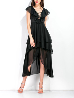 Black Midi V Neck Plus Size Dress for Cocktail Prom Ball