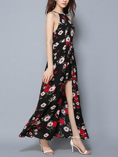 Black and Red Maxi Halter Plus Size Floral Dress for Cocktail Prom Ball