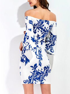Blue and White Bodycon Above Knee Plus Size Off Shoulder Dress for Cocktail Party Evening