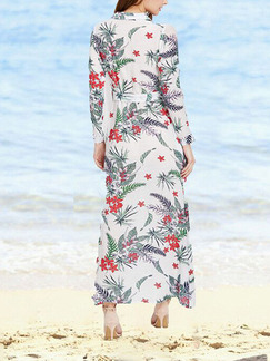 White Colorful Maxi Plus Size Floral V Neck Shirt Long Sleeve Dress for Casual Beach