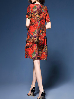 Red Shift Above Knee Plus Size Floral Dress for Casual Party Evening