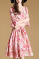 Pink Fit & Flare Above Knee Plus Size Floral Cute V Neck Dress for Casual Party Evening