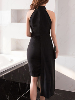 Black Bodycon Midi Halter Dress for Cocktail Party Evening