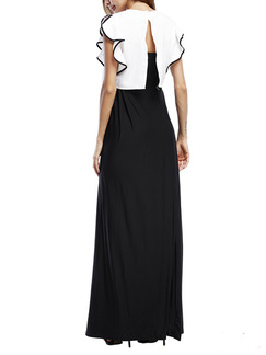 Black and White Two Piece Maxi Plus Size Dress for Cocktail Prom Ball