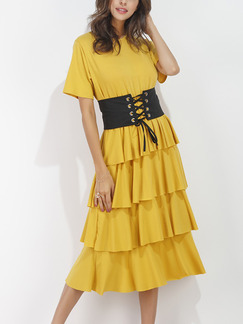 Yellow Fit & Flare Midi Plus Size Cute Dress for Cocktail Party Evening
