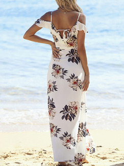 White Colorful Maxi Floral Plus Size V Neck Slip Dress for Casual Beach
