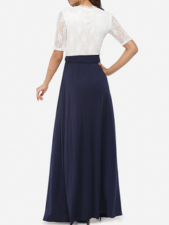 Blue and White Maxi Plus Size V Neck Lace Dress for Cocktail Evening