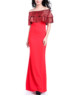 Red Maxi Off Shoulder Plus Size Dress for Cocktail Evening Prom Ball