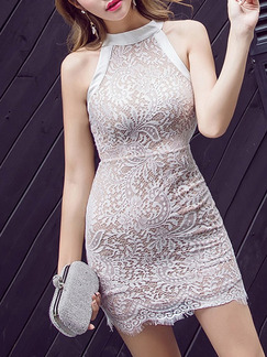 White Bodycon Above Knee Halter Lace Dress for Cocktail Party Evening