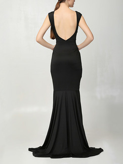 Black Maxi Plus Size Backless Dress for Cocktail Party Evening Ball Prom