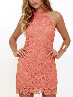Pink Bodycon Above Knee Plus Size Lace Halter Cute Dress for Cocktail Party Evening