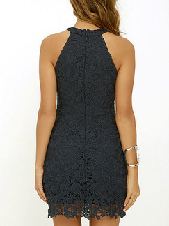 Black Bodycon Above Knee Plus Size Lace Halter Dress for Cocktail Party Evening