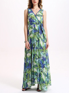 Green Colorful Maxi Plus Size V Neck Dress for Casual Party Beach