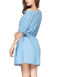 Blue Fit & Flare Above Knee Off Shoulder Dress for Casual Party Evening