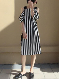 Black and White Stripe Shift Knee Length Dress for Casual Party Evening