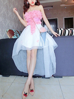 Pink and White Fit & Flare Above Knee Floral Cute Strapless Dress for Cocktail Party Ball Prom