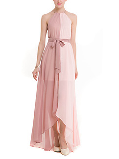 Pink Maxi Plus Size Halter Cute Dress for Cocktail Party Prom Ball