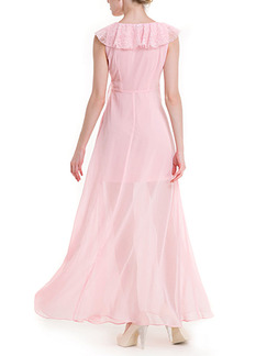 Pink Maxi Plus Size V Neck Cute Dress for Cocktail Party Prom
