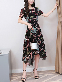 Black Colorful Fit & Flare Midi Plus Size Floral Dress for Casual Party Evening Office