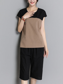 Black and Brown Two Piece Shirt Shorts Plus Size Jumpsuit for Casual