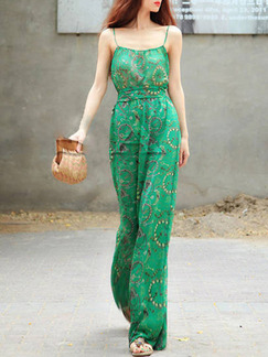 Green Two Piece Shirt Pants Slip Jumpsuit for Casual Party