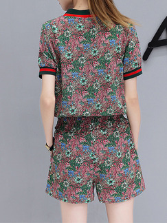 Colorful Two Piece Shirt Shorts Plus Size V Neck Floral Jumpsuit for Casual Party